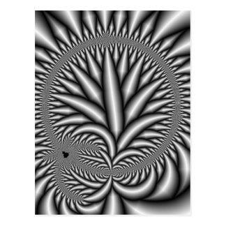 Black and white Fractal Postcard