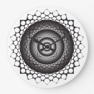 black and white fractal wormhole clock