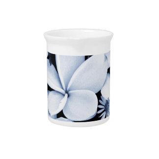 Black and white frangipani beverage pitcher