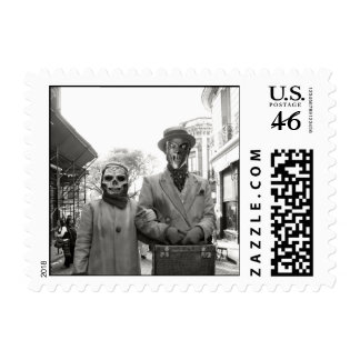 Black and White Freaky Vintage Couple Halloween Stamp