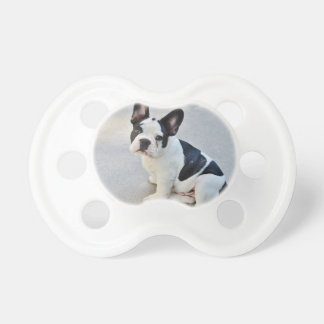 Black and White French Bulldog Pacifier
