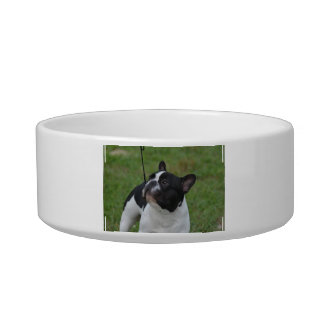 Black and White French Bulldog Pet Food Bowls