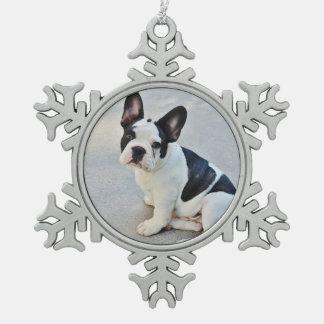 Black and White French Bulldog Snowflake Pewter Christmas Ornament
