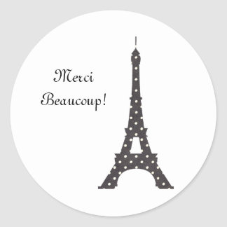 Black and White French Polka Dots Eiffel Tower Classic Round Sticker