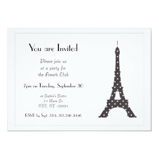 "Black and White French Polka Dots Eiffel Tower 5"" X 7"" Invitation Card"