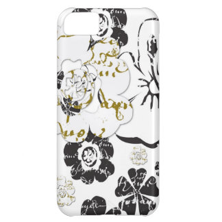Black and White French Script flowers iPhone 5C Cover