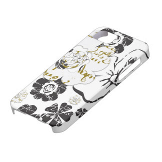 Black and White French Script flowers iPhone 5 Cover