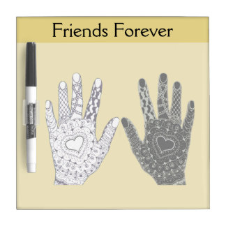 Black and White Friends Forever Hands Dry-Erase Board