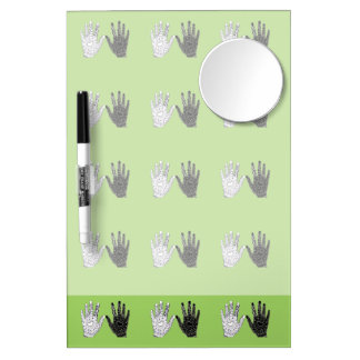 Black and White Friendship Hands Dry Erase Board With Mirror