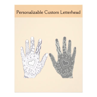 Black and White Friendship Hands Letterhead