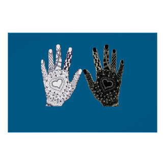 Black and White Friendship Hands Poster