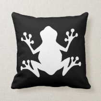 Black and White Frog Throw Pillow