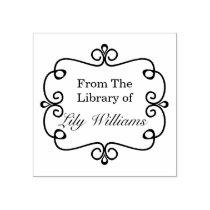 Black And White From The Library Of Bookplate Rubber Stamp