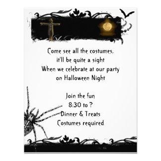 Black and White Full Moon Halloween Invitation
