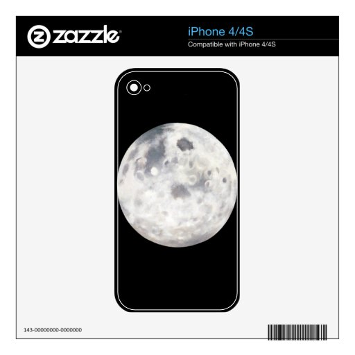 Black and White Full Moon Oil Painting iPhone 4S Decals