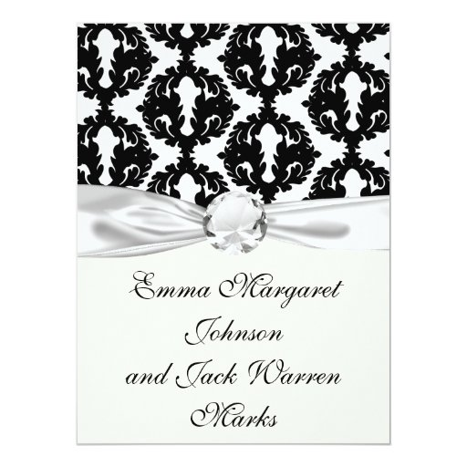 black and white funky damask pattern card
