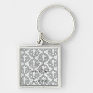 black and white funky damask pattern key chains