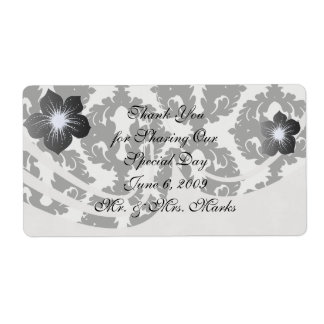 black and white funky damask pattern shipping label