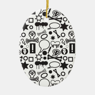 Black and white funky icons ceramic ornament