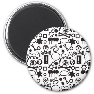 Black and white funky icons magnet