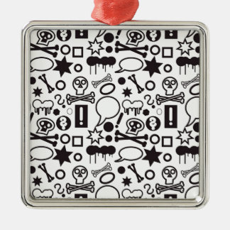 Black and white funky icons metal ornament