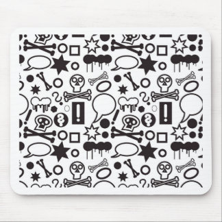 Black and white funky icons mouse pad