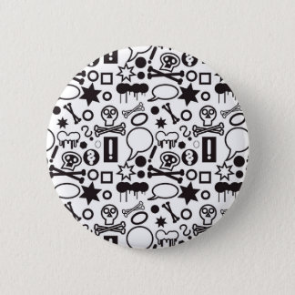 Black and white funky icons pinback button