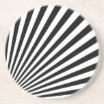 Black and White Funky Striped Abstract Art Coaster
