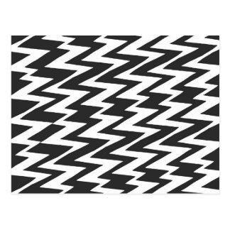 Black and White Funky Zigzag Chevron Postcard