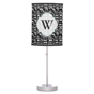 Black and White Funny Mustache Desk Lamp