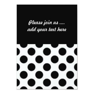 Black and White Fuzzy Polka Dot Pattern Invites
