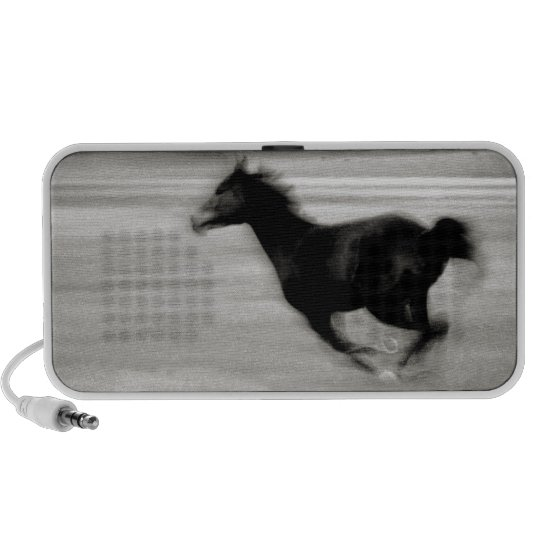 Black and White Galloping Horse Portable Speaker