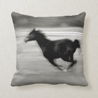 Black and White Galloping Horse Throw Pillow