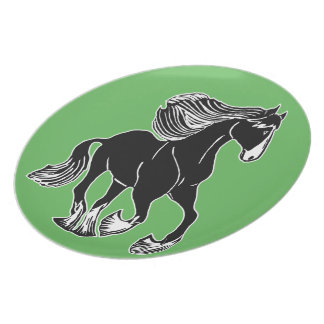 Black and White Galloping Shire Horse Green Plate