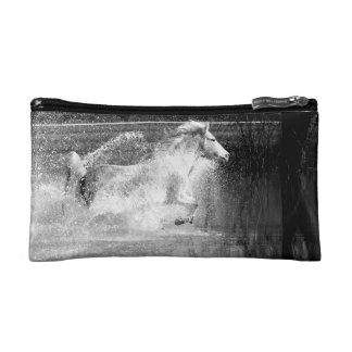 Black and White Galloping White Water Horse Cosmetic Bag