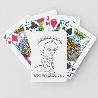 Black and White Gamer Girl Try to Keep Up Distress Bicycle Playing Cards