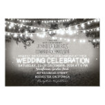 black and white garden lights rustic wedding personalized announcements