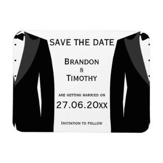 Black And White Gay Wedding Save The Date Magnets
