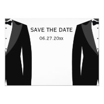 Black And White Gay Wedding Save The Dates Invitation
