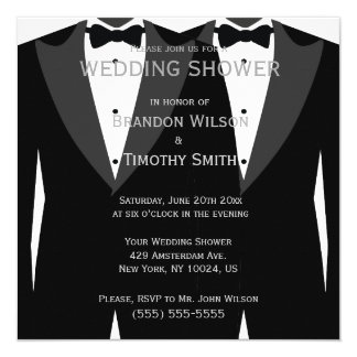 Black And White Gay Wedding Shower Invitations