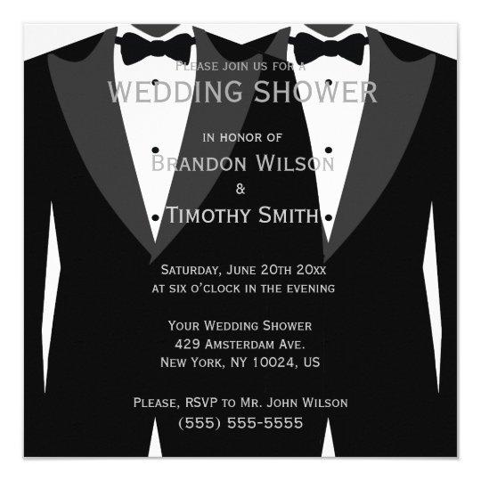 black and white gay wedding shower invitations