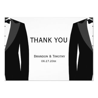 Black And White Gay Wedding Thank You Cards