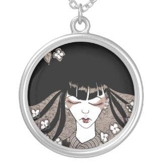 Black and White Geisha Necklace