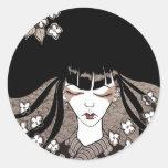 Black and White Geisha Sticker