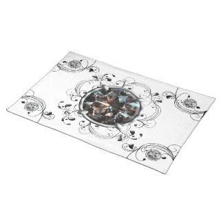 Black and White Gem Cloth Placemat