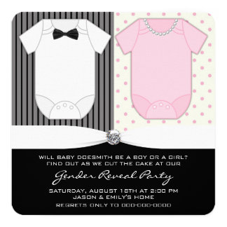 Black and White Gender Reveal Card