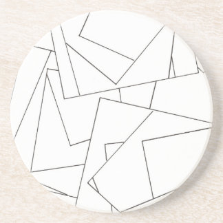 Black And White Geometric - Abstract Ink Drawing Sandstone Coaster