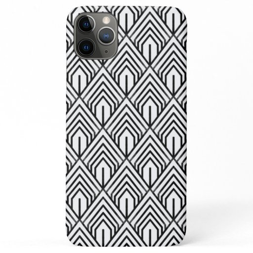 Black and White Geometric Abstract Pattern iPhone 11 Pro Max Case
