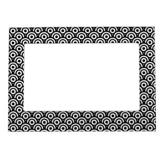 Black and White Geometric Art Deco Style Photo Frame Magnet