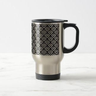 Black and White Geometric  Art Deco Style Travel Mug